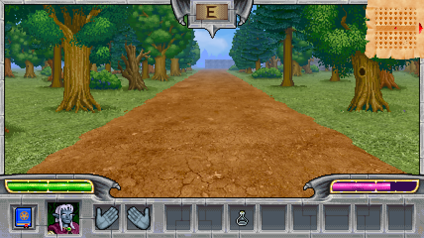 Arcane Sector game screenshot featuring a road going through the forest with a building in the background.